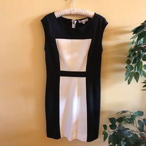Loft Black & White Color Block Cap Sleeve Dress